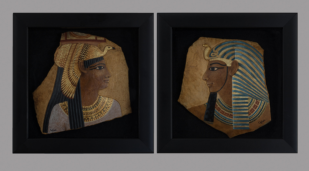 Circa 1500 B.C., dyptych, 7 x 7x 2 inches each, available for purchase
