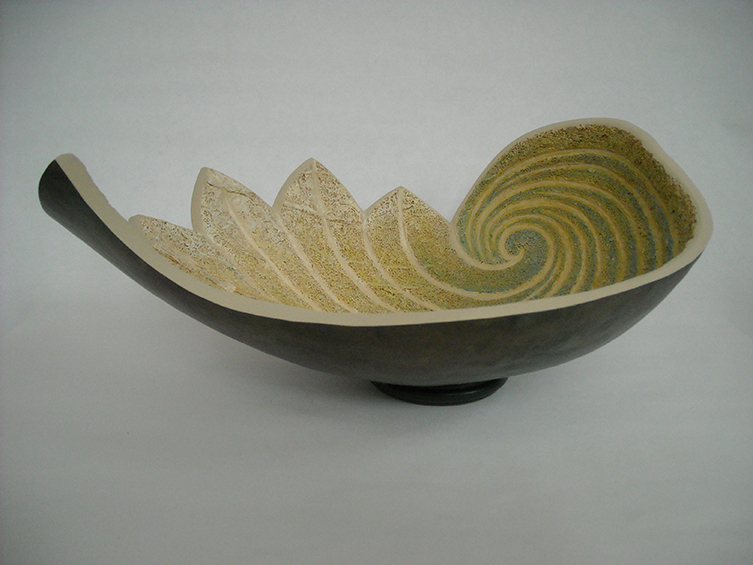 Green Leaf Bowl, 5.5 x 13.25 x 10.25 inches, sold