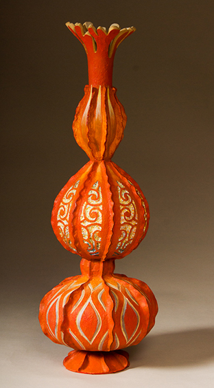 Orange Vase, 18.5 x 8 x 8 inches, sold