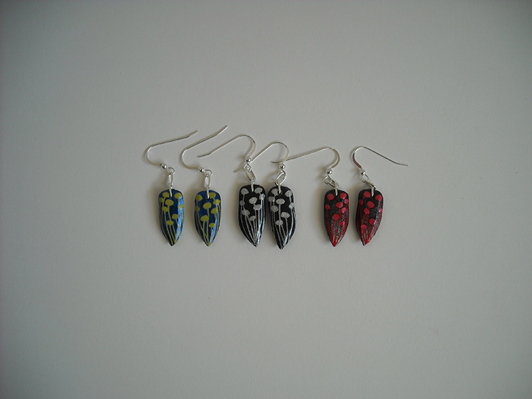gourd seed earrings, collection 2, sold
